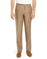 Pantalon chino en lin marron clair