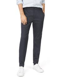 Pantalon chino en pied-de-poule bleu marine