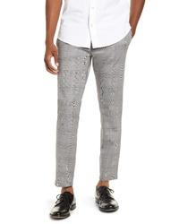 Pantalon chino en pied-de-poule gris