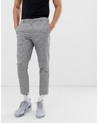 Pantalon chino en pied-de-poule noir et blanc
