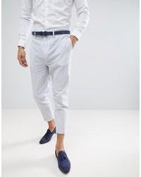 Pantalon chino en seersucker bleu clair Gianni Feraud