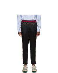 Pantalon chino en soie noir Gucci