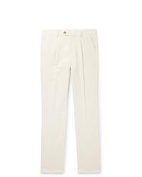 Pantalon chino en velours côtelé blanc Brunello Cucinelli