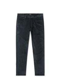 Pantalon chino en velours côtelé bleu canard