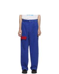 Pantalon chino en velours côtelé bleu