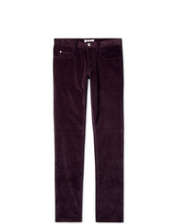 Pantalon chino en velours côtelé bordeaux