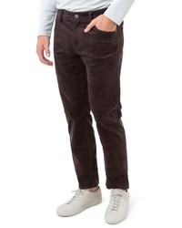 Pantalon chino en velours côtelé marron foncé