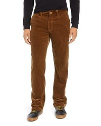 Pantalon chino en velours côtelé marron