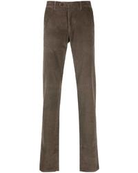 Pantalon chino en velours côtelé marron Canali
