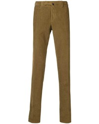 Pantalon chino en velours côtelé marron Incotex
