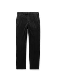 Pantalon chino en velours côtelé noir Ermenegildo Zegna