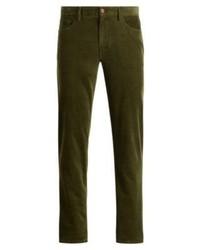 Pantalon chino en velours côtelé olive