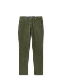 Pantalon chino en velours côtelé olive Boglioli