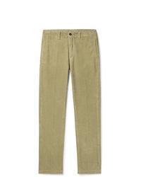 Pantalon chino en velours côtelé olive Massimo Alba