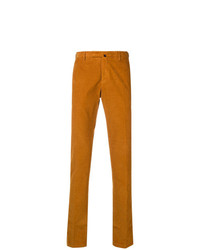 Pantalon chino en velours côtelé orange Incotex