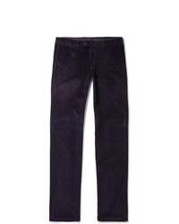 Pantalon chino en velours côtelé pourpre foncé Canali