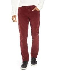 Pantalon chino en velours côtelé rouge