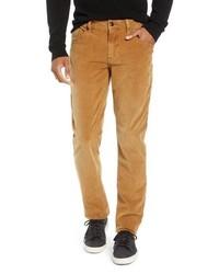 Pantalon chino en velours côtelé tabac