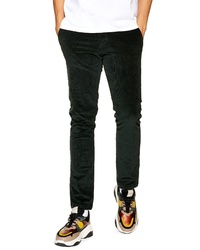 Pantalon chino en velours côtelé vert foncé