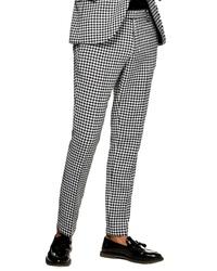 Pantalon chino en vichy blanc et noir