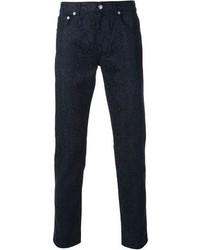 Pantalon chino imprimé bleu marine