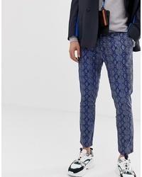 Pantalon chino imprimé bleu marine ASOS DESIGN