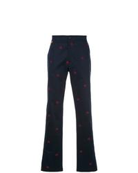 Pantalon chino imprimé bleu marine Gieves & Hawkes