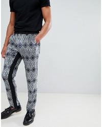 Pantalon chino imprimé bleu