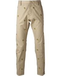 Pantalon chino imprimé marron clair