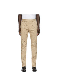 Pantalon chino imprimé marron clair Fendi