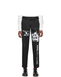 Pantalon chino imprimé noir et blanc