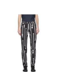 Pantalon chino imprimé noir et blanc Moschino