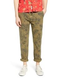 Pantalon chino imprimé olive