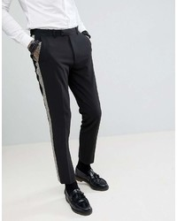 Pantalon chino noir et blanc Asos