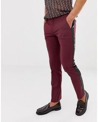 Pantalon chino pourpre foncé Twisted Tailor