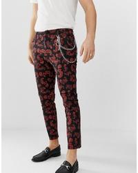 Pantalon chino rouge et noir
