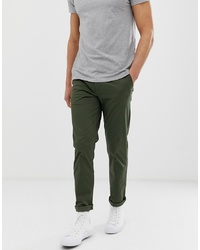 Pantalon chino vert foncé Selected Homme
