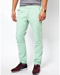 Pantalon chino vert menthe