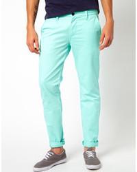 Pantalon chino vert menthe Selected