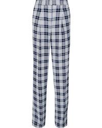 Pantalon de costume à carreaux bleu marine