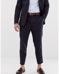 Pantalon de costume à carreaux bleu marine ASOS DESIGN