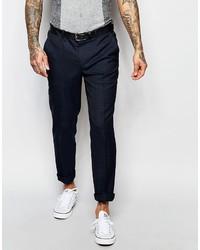 Pantalon de costume à carreaux bleu marine Asos