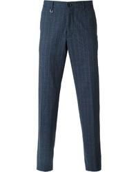 Pantalon de costume à carreaux bleu marine Ermenegildo Zegna