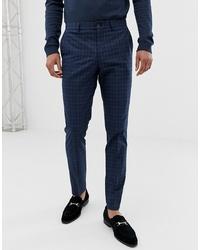 Pantalon de costume à carreaux bleu marine Jack & Jones