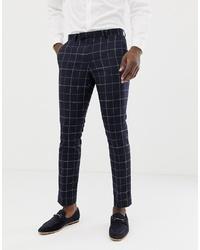 Pantalon de costume à carreaux bleu marine MOSS BROS