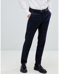 Pantalon de costume à carreaux bleu marine Selected Homme