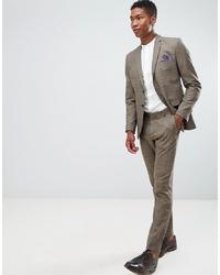 Pantalon de costume à carreaux marron Selected Homme