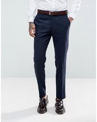 Pantalon de costume à chevrons bleu marine Gianni Feraud