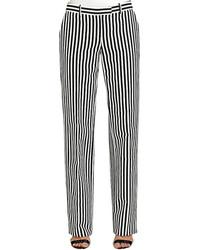 Pantalon de costume à rayures verticales blanc et noir