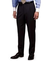 Pantalon de costume à rayures verticales bleu marine et blanc